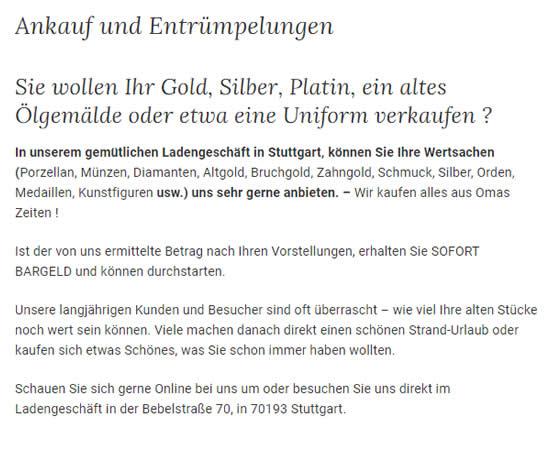 Gold Silber Ankauf für  Solitude (Stuttgart)