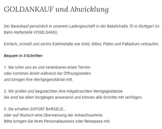 Gold Verkauf aus  Sonnenberg (Stuttgart)