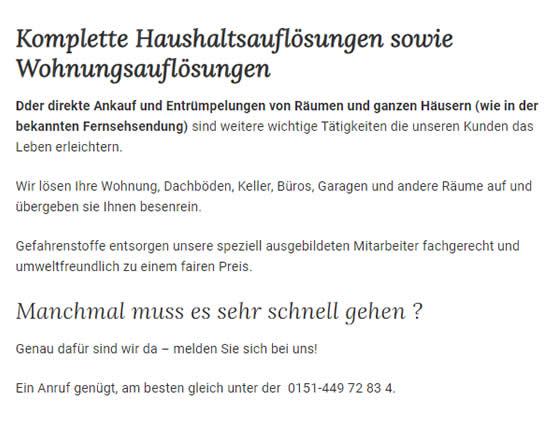 Haushaltsaufloesung 1 in  Rutesheim